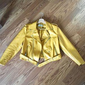 Yellow moto jacket